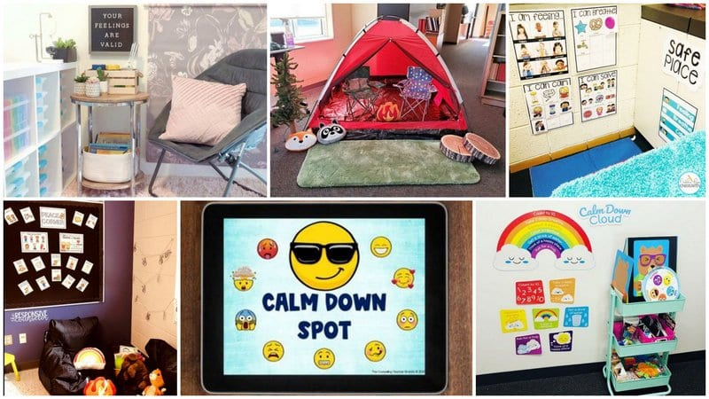 collage of calm down corners to help build resilience in students learning in person and remotely