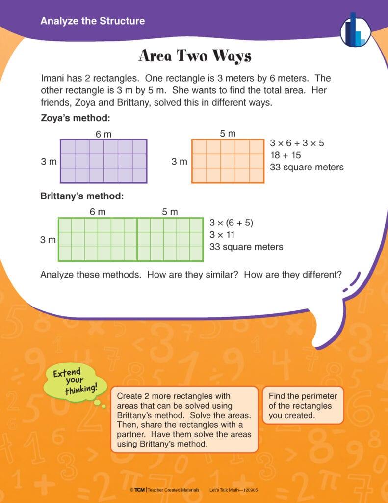 Sample math task from Let's Talk Math