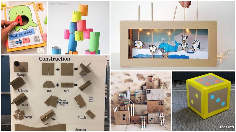 Six Separate Images of Cardboard Activities from Dice to Houses.
