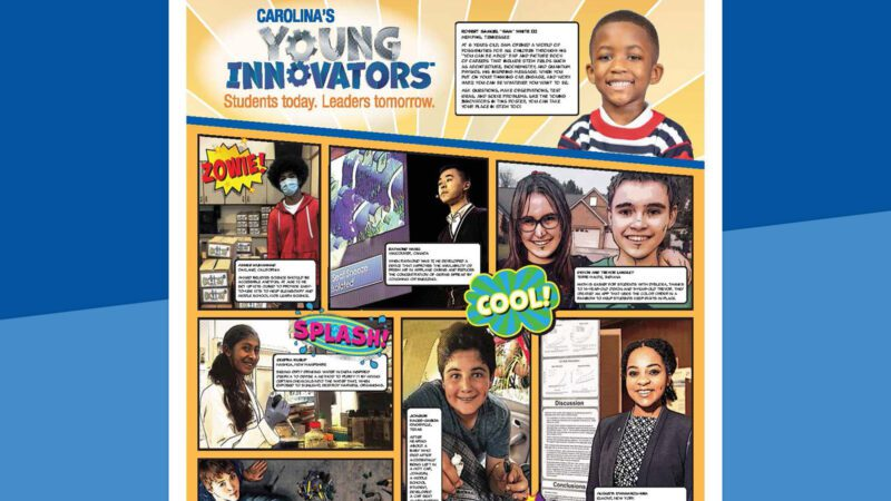 Young innovators poster on a blue background.