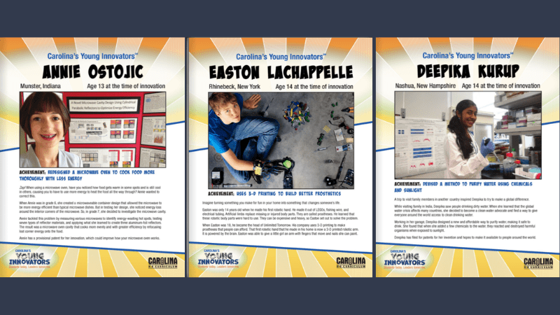 Carolina's Young Innovators Profile Cards