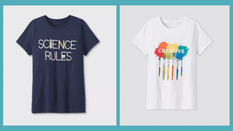 Navy Science Rules T-Shirt and a white shirt with different colored paintbrushes hanging from the words creative