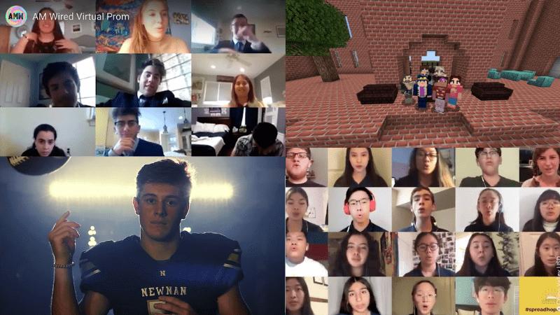 Collage of students celebrating graduation 2020