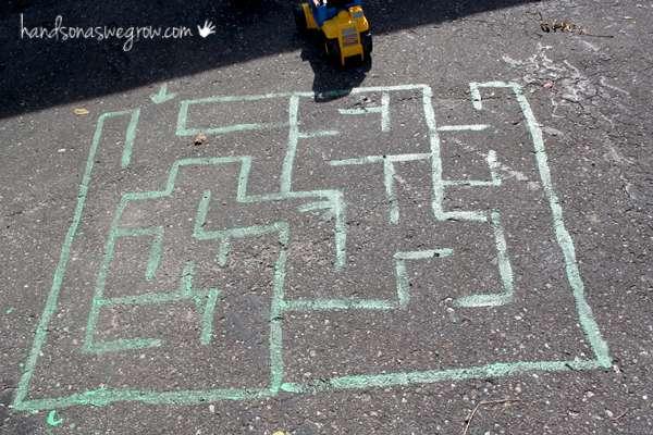 Sidewalk Chalk maze for kids