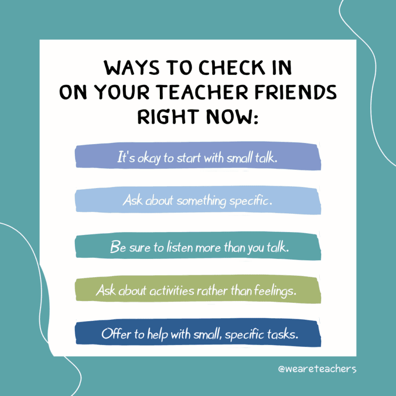 List of ways to check in on teacher friends
