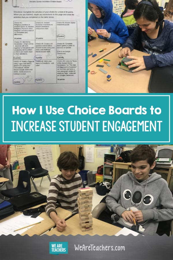 How I Use Choice Boards to Increase Student Engagement