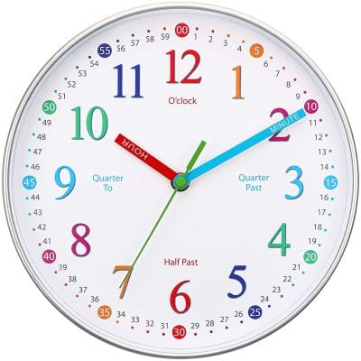 Clock with colored numbers and numbers labelling every 15 minutes.