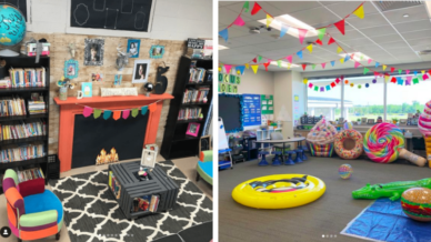 Two brightly colored classroom libraries