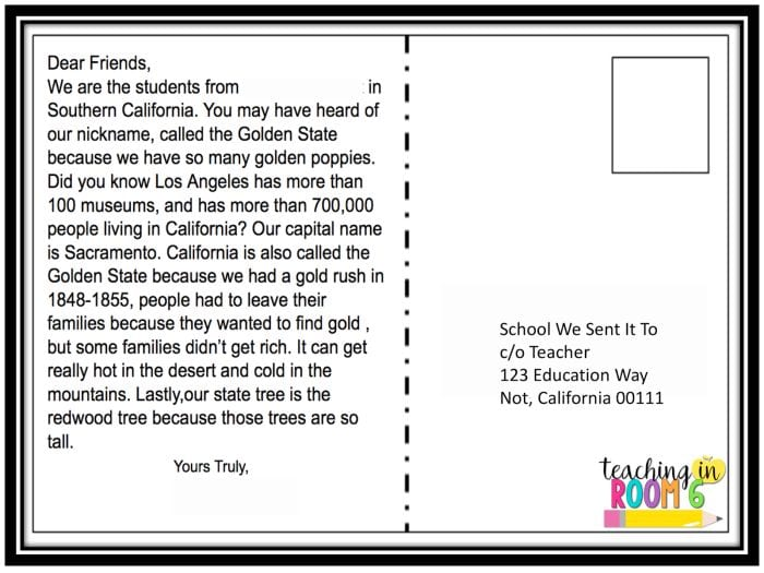 Classroom Postcard Exchange Teaching in Room 6