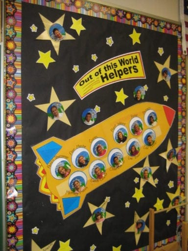 """Classroom space theme bulletin world celebrating """"out of this world helpers"""""""