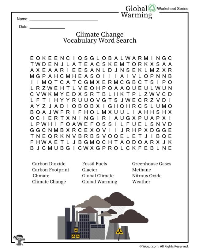Printable word search with climate change terms for the classroom