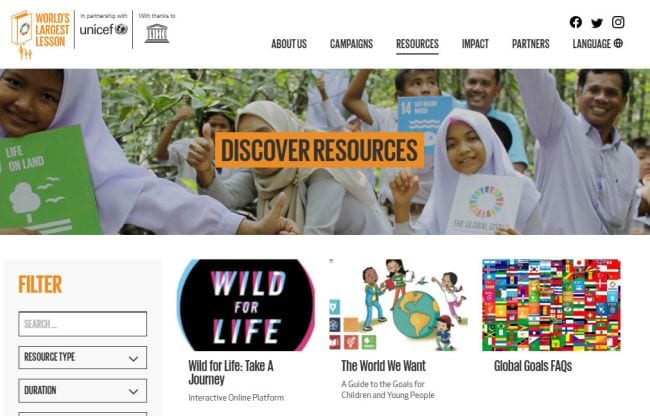 Screen shot of the World's Largest Lesson resources page (Climate Change Activities)