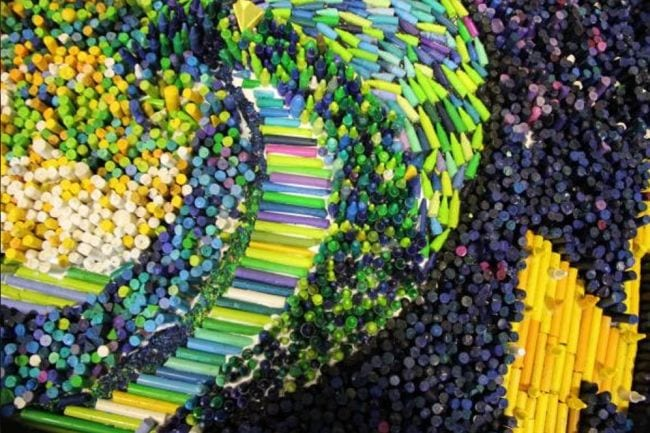 Colorful mosaic made of broken crayons (Collaborative Art Project)