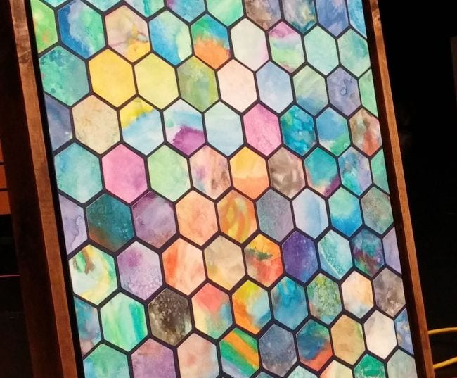 Pattern made of watercolor paper hexagons