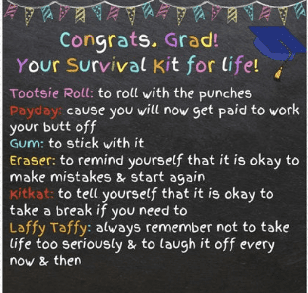 Congrats Grad! Your Survival Kit For Life tag for senior graduation candy themed gift