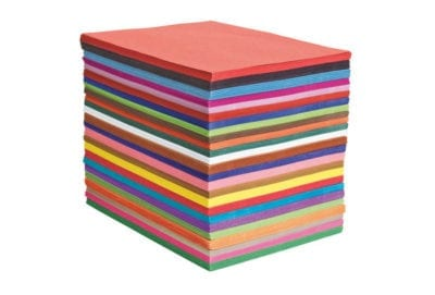 Brightly colored construction paper