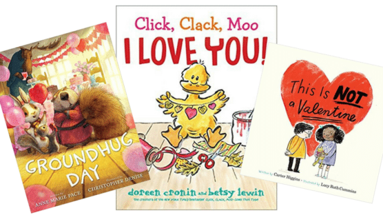 Collage of 3 Valentine's Day books for kids