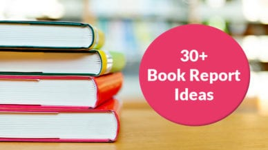 "A stack of colorful books with a call-out that reads ""30+ Book Report Ideas""."