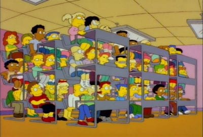 Simpsons characters stacked on top of each other -- fictional college courses