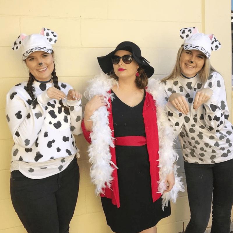 Teacher Costume Cruella De Vil and Dalmations for Halloween