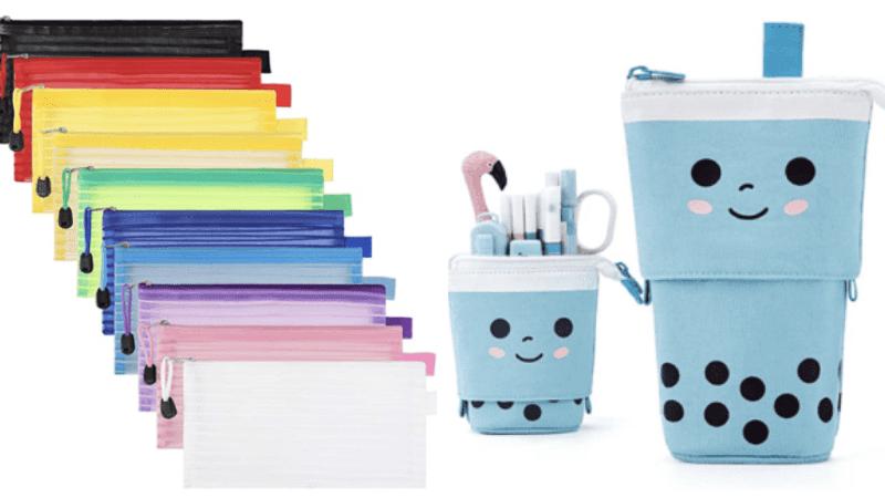 Rainbow pencil pouches and boba pencil pouches
