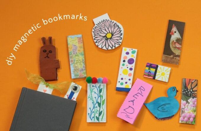 arrangement of DIY magnetic bookmarks