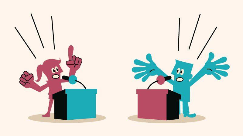 Two kids debating.