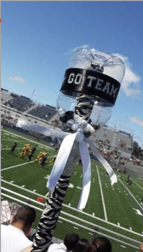 an empty water bottle that has been used to make a school spirit stick