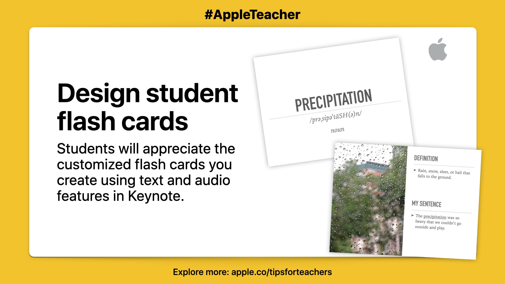 """Students will appreciate the customized flash cards you create using text and audio features in Keynote."" Picture of two flash cards on white background with yellow border."