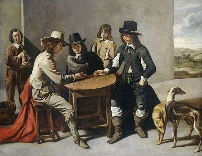 Painting of men playing a dice game by Gabriel de Saint-Aubin in the 1600s