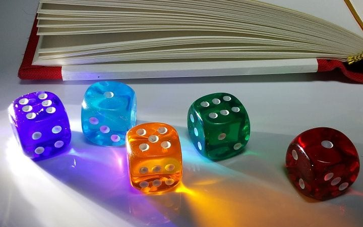 Various colored dice.