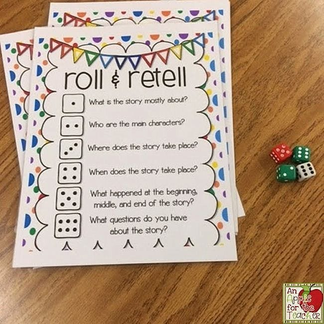 Dice Games Roll and Retell Apple for the Teacher