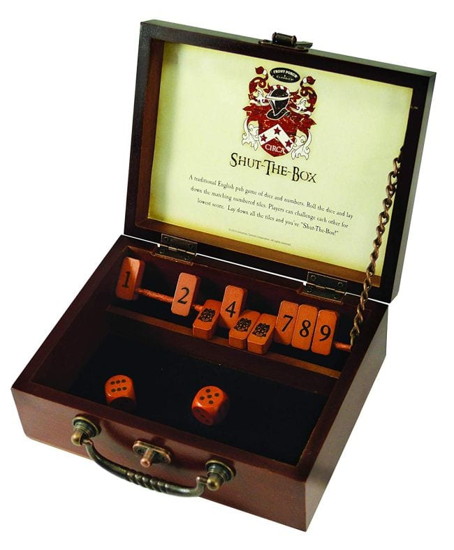 Wood box with hinged tiles numbered 1 to 9 and a pair of wooden dice (First Grade Games)