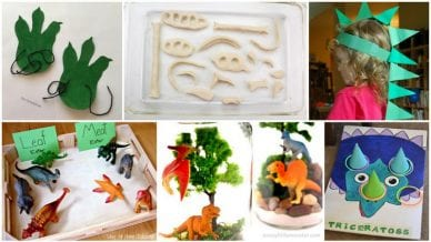 Dinosaur Activities for kids including paper, clay, and toys.