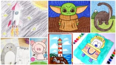 Collage of directed drawing activities for kids in the classroom.