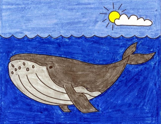 Crayon drawing of a humpback whale in a blue ocean