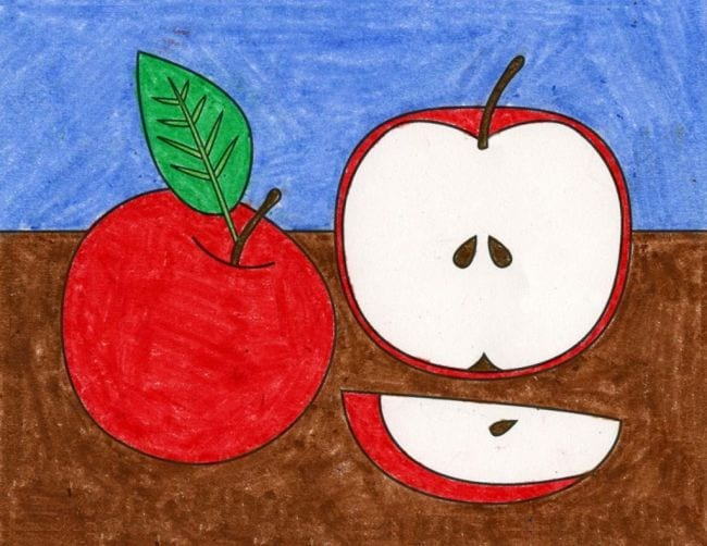 Crayon drawing of a full apple, half apple, and apple slice