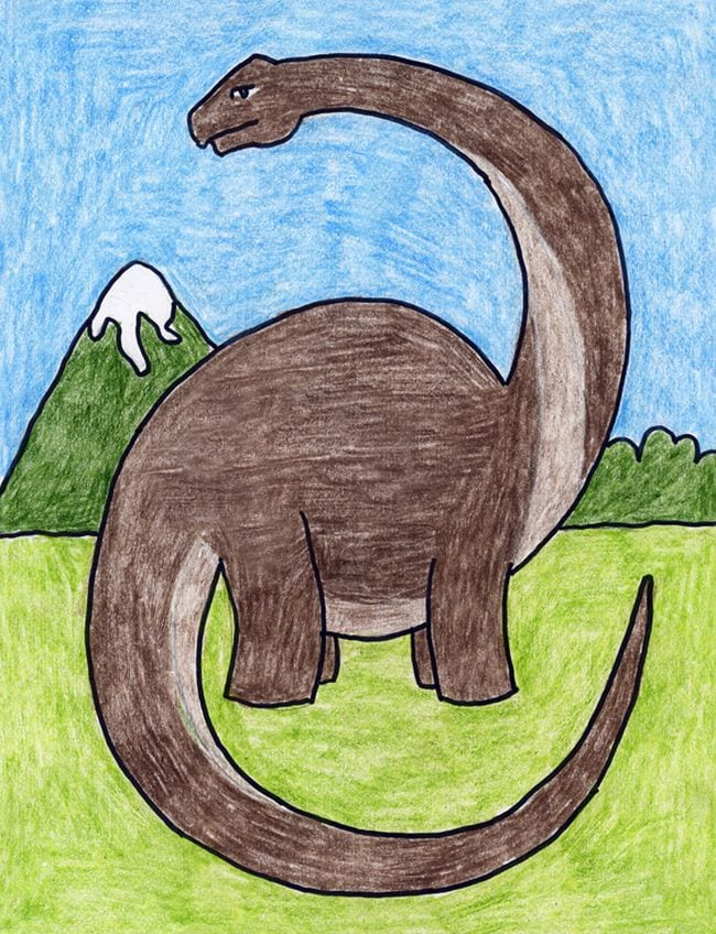 Crayon drawing of a diplodocus