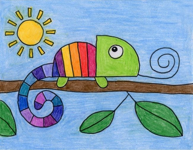 Crayon drawing of a rainbow-striped chameleon on a branch