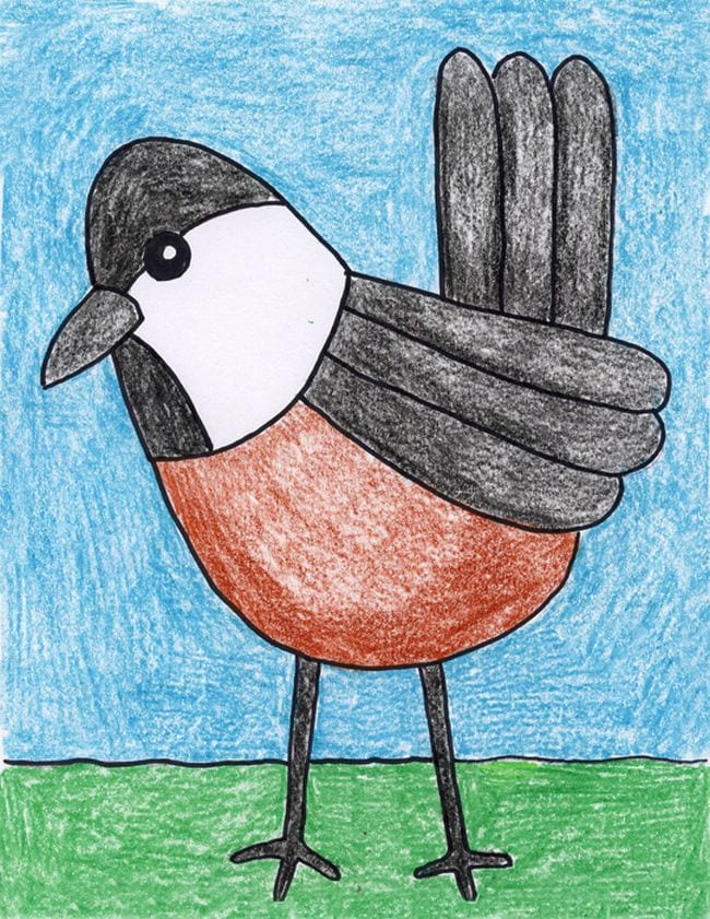 Simple crayon drawing of a chickadee - Directed Drawing for Kids