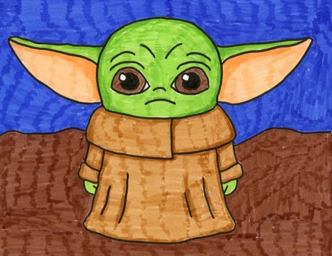 Simple marker drawing of the character known as Baby Yoda, The Child, and Grogu