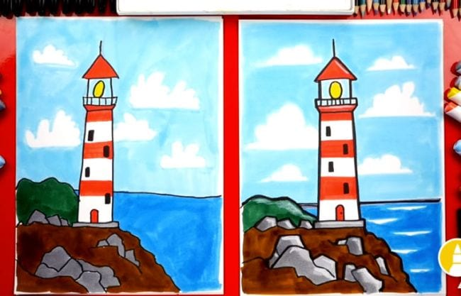 Side-by-side drawings of a red and white lighthouse on a cliff by the sea