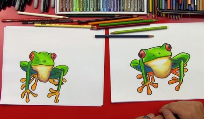 Side-by-side sketches of a colorful tree frog - Directed Drawing for Kids