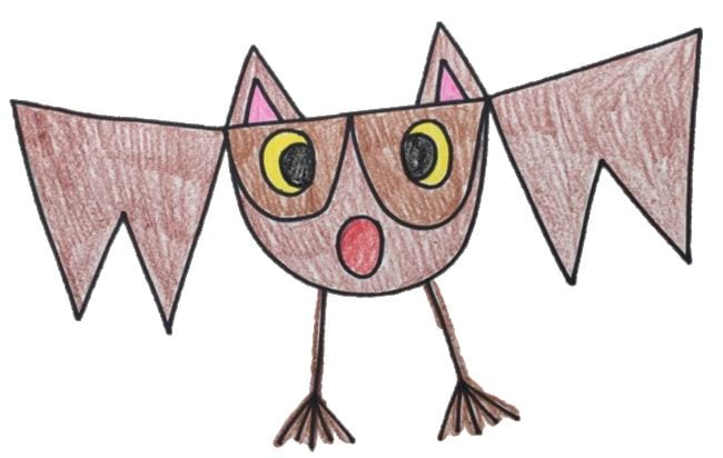 Simple bat sketch with shapes like triangles and half circles - Directed Drawing for Kids