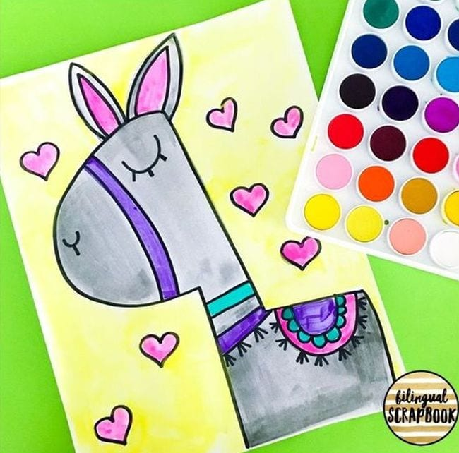 Colorful drawing of a llama - Directed Drawing for Kids