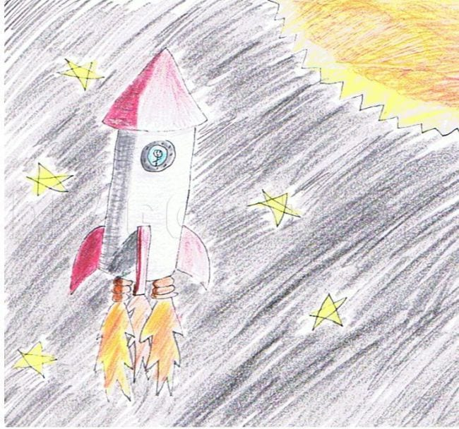 Colored pencil sketch of a rocket in space with stars