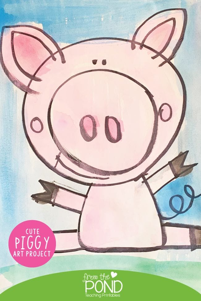 Simple drawing of a smiling cartoon pig