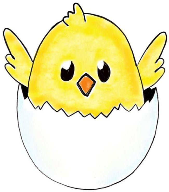 Cartoon baby chicken inside half an eggshell - Directed Drawing for Kids