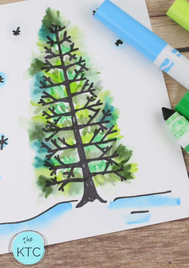 Simple watercolor marker drawing of a pine tree in snow