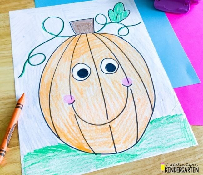 Crayon sketch of a pumpkin with a smiley face - Directed Drawing for Kids